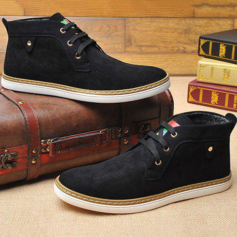 New Mid Top Suede Lace-Up Casual Shoes ODM Designer - 40 BLACK Mobile