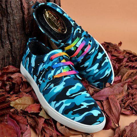 Chic Rivet Lace-Up Camouflage Print Casual Shoes ODM Designer - 43 BLUE Mobile