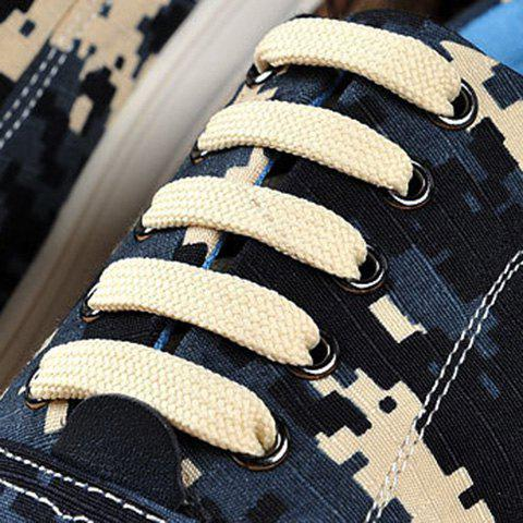 Outfits Camo Pixel Print Lace-Up Casual Shoes ODM Designer - 42 DEEP BLUE Mobile