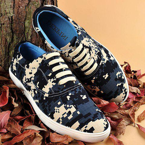 Buy Camo Pixel Print Lace-Up Casual Shoes ODM Designer DEEP BLUE 42