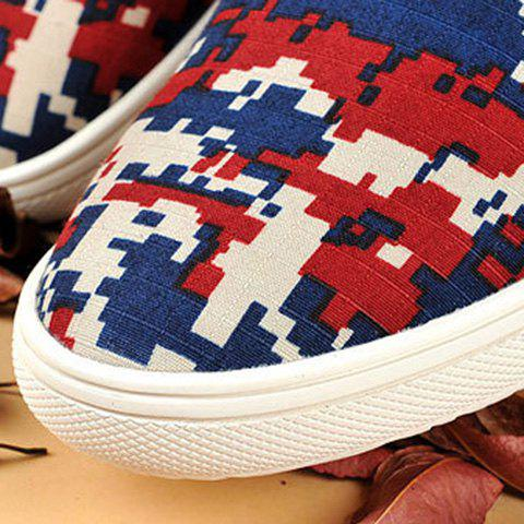 Store Camo Pixel Print Lace-Up Casual Shoes ODM Designer - 39 RED Mobile