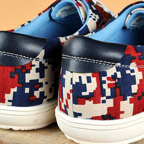Chic Camo Pixel Print Lace-Up Casual Shoes ODM Designer - 39 RED Mobile