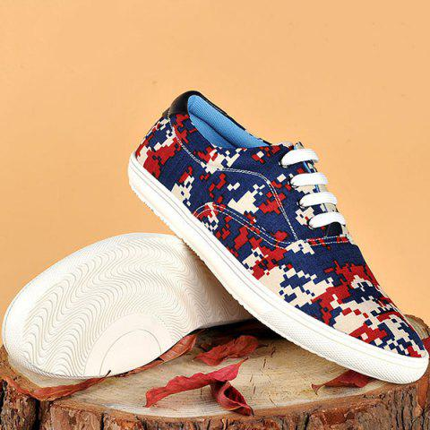 New Camo Pixel Print Lace-Up Casual Shoes ODM Designer - 39 RED Mobile