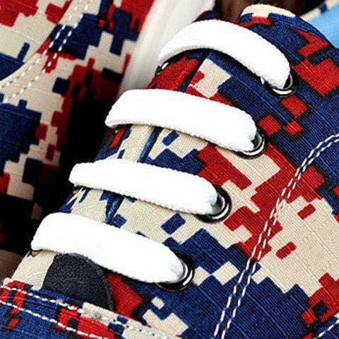 Shop Camo Pixel Print Lace-Up Casual Shoes ODM Designer - 39 RED Mobile