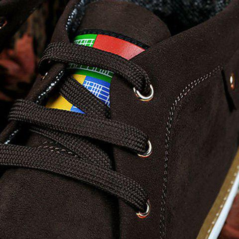 Fashion Mid Top Suede Lace-Up Casual Shoes ODM Designer - 43 DEEP BROWN Mobile