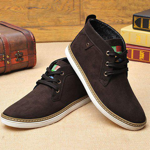 Shop Mid Top Suede Lace-Up Casual Shoes ODM Designer - 43 DEEP BROWN Mobile