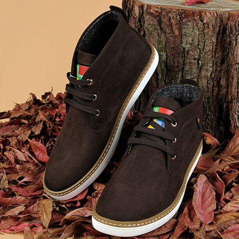 Trendy Mid Top Suede Lace-Up Casual Shoes ODM Designer - 43 DEEP BROWN Mobile