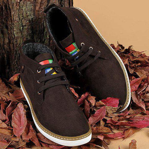 Trendy Mid Top Suede Lace-Up Casual Shoes ODM Designer DEEP BROWN 41