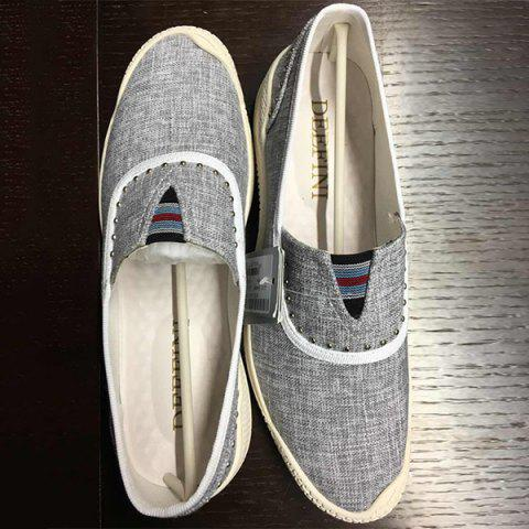 Cheap Slip-On Rivet Linen Casual Shoes ODM Designer GRAY 39
