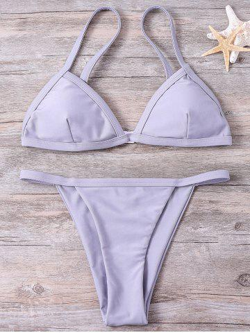 Unique Spaghetti Straps Solid Color Bikini Set - S GRAY Mobile