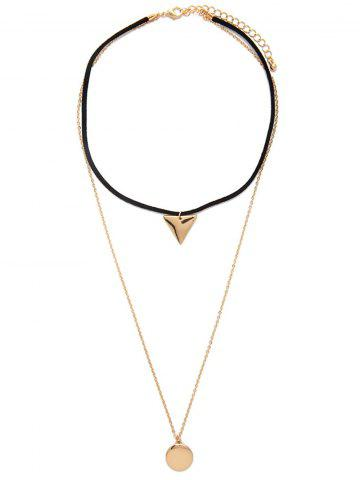 Store Multilayered Geometric Charm Choker Necklace