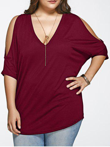 Trendy Plus Size Long Cold Shoulder Loose Fitting V Neck T-Shirt