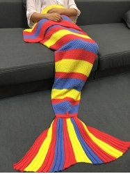 Fashionable Colorful Stripe Pattern Knitted Mermaid Design Throw Blanket - COLORMIX