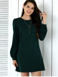 Brief Lantern Sleeve Pure Color Dress - BLACKISH GREEN XL