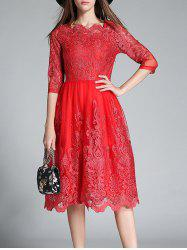 Floral Embroidered High Waist Lace Dress