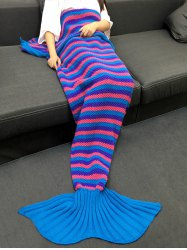 Stripe Pattern Knitting Mermaid Tail Shape Blanket