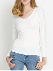V-Neck Pure Color T-Shirt