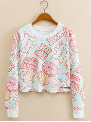 Cookies Letter Print Cropped Long Sleeve Sweatshirt - LIGHT BLUE