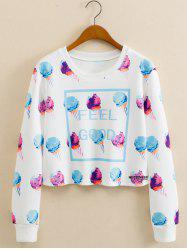 Ice Cream Print Cropped Long Sleeve Sweatshirt - WHITE