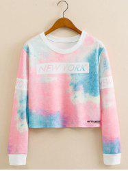 Tie-Dye Colorful Cropped Long Sleeve Sweatshirt - COLORMIX