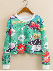 Cartoon Print Cropped Sweatshirt