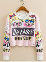 Anime Girls Letter Print Cropped Long Sleeve Sweatshirt - SHALLOW PINK L