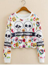 Mushroom Skull Print Cropped Long Sleeve Sweatshirt