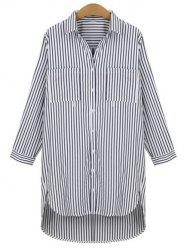 Plus Size Pinstripe High Low Hem Shirt
