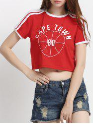 Two-Tone Letter Boxy Crop Top T-Shirt
