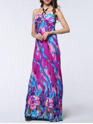 Halter Floral Backless Long Prom Dress