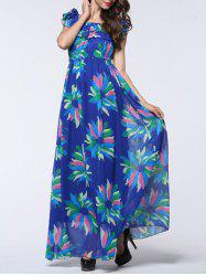 Flounce Overlay Floral Print Convertible Maxi Dress