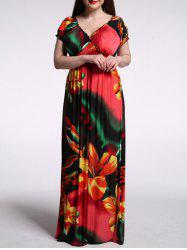 V Neck Short Sleeve Floral Maxi Dress - RED