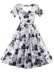 Vintage Keyhole Floral Print Pin Up Dress - WHITE 2XL