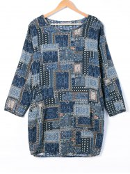Tribe Print Long Sleeve Loose Dress -