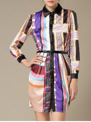 Colorful Geometrical Long Sleeve Dress -