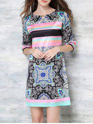 Tribe Multicolor Print Short Sleeve Dress