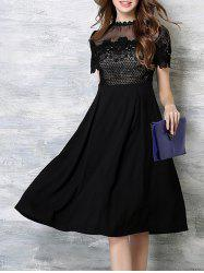 Crochet High Waist Embroidery Dress