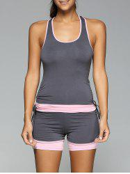 Racerback Side Drawstring Tank Top and Skinny Spliced Shorts Twinset -