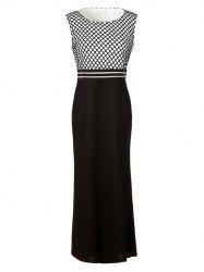 Formal Sleeveless Grid Printed Maxi Dress