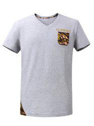 V-Neck Short Sleeve Camo Breast Pocket Spliced T-Shirt ODM Designer - GRAY