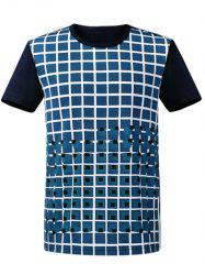 Plaid Round Neck Short Sleeve T-Shirt ODM Designer - PURPLISH BLUE