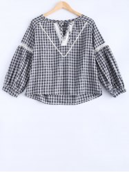 Lace-Up Hollow Out Plaid Blouse -