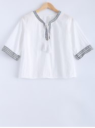 Tribal Pattern Strappy Embroidery Blouse -