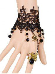 Spider Butterfly Beads Bracelet With Ring -
