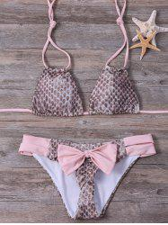 Animal Print Bowknot Halter Bikini Set -