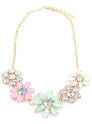 Faux Crystal Rhinestone Sunflower Pendant Necklace -