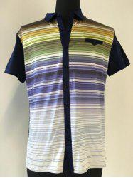 Multicolor Striped Spliced Breast Pocket Short Sleeve Shirt ODM Designer - PURPLISH BLUE