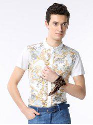 Chains Print Turn-down Collar Short Sleeve Shirt ODM Designer -