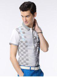 Pinstriped Button-Up Collar Turn-down chemise à manches courtes - Blanc