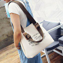 Canvas Magnetic Closure Letter Print Shoulder Bag
